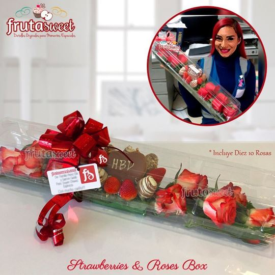 Picture of STRAWBERRIES & ROSES BOX HBD